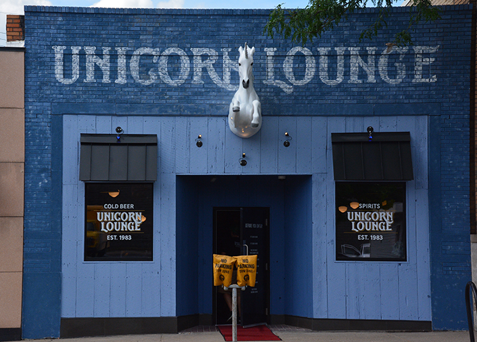 outside view of the front of the unicorn lounge