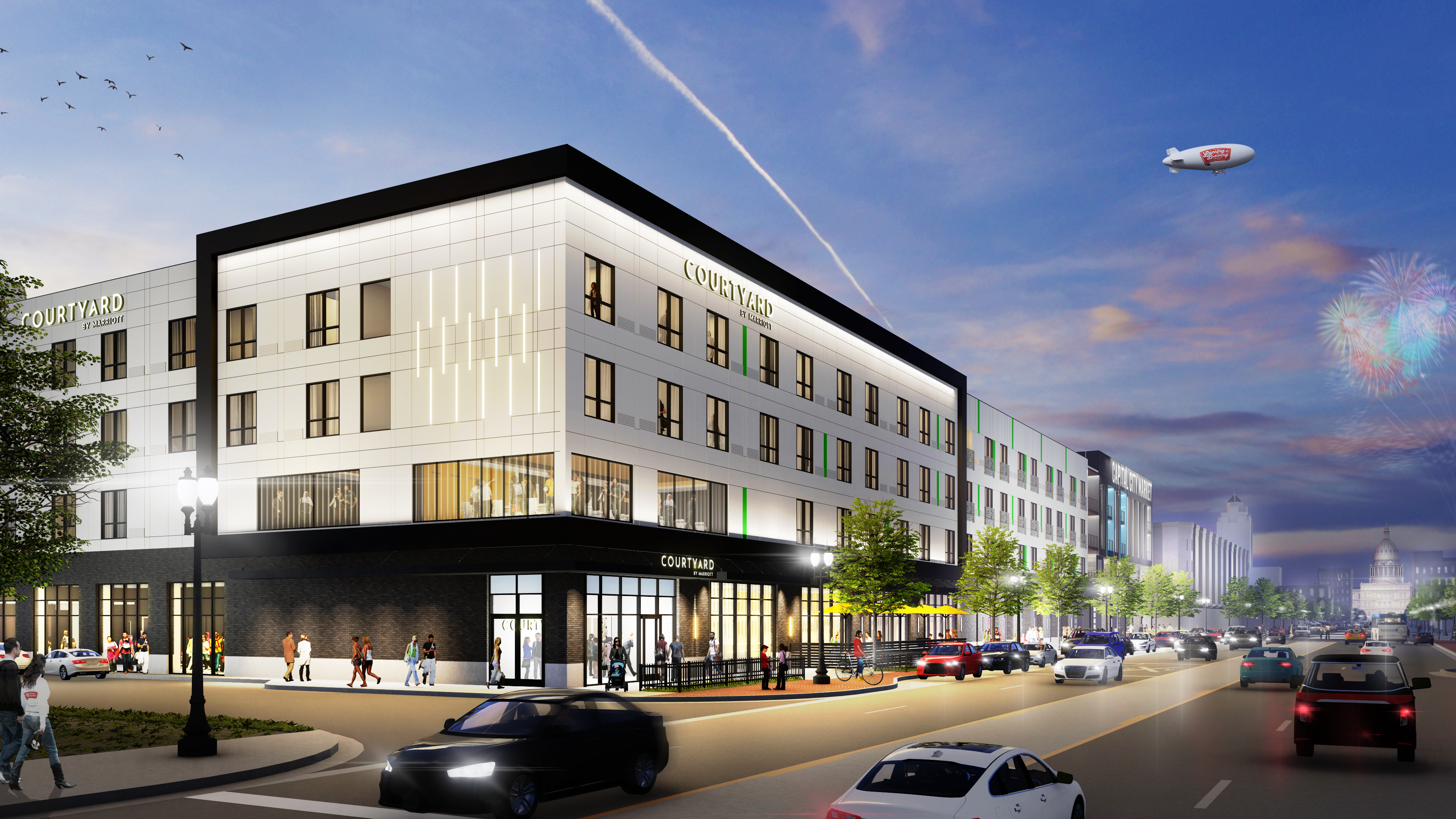 Rendering the hotel portion of the 600 block development