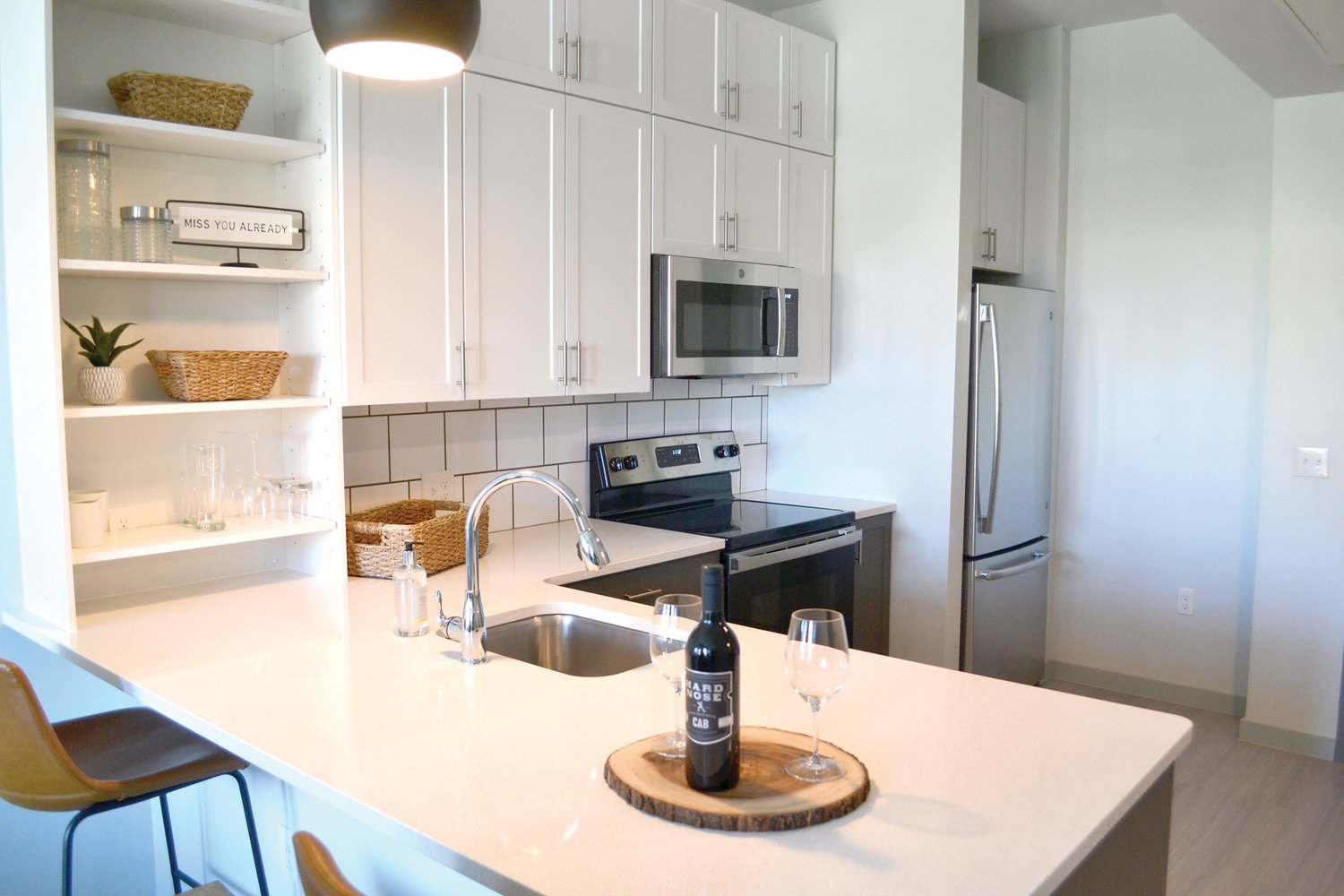Kitchen view of a one bedroom apartment at BLOCK600