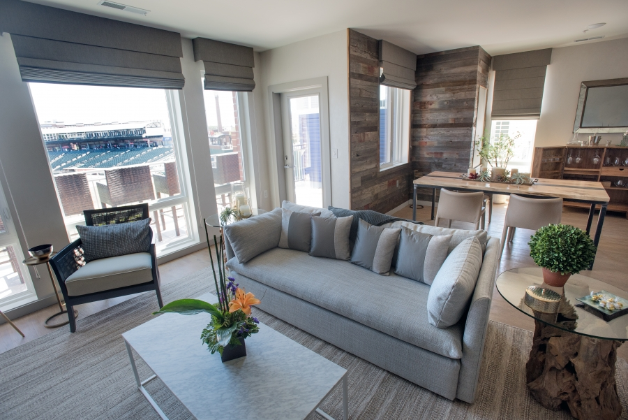 living room with view of ball park
