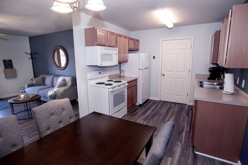 Interior view of kitchen in Chesapeake apartments.